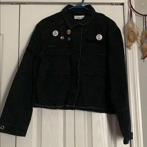 Rock/punk inspired crop denim jacket